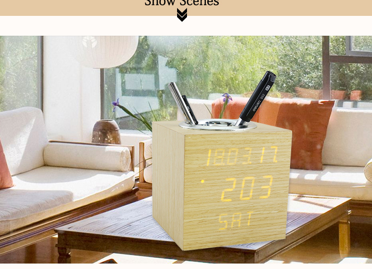 study office pen holder clock