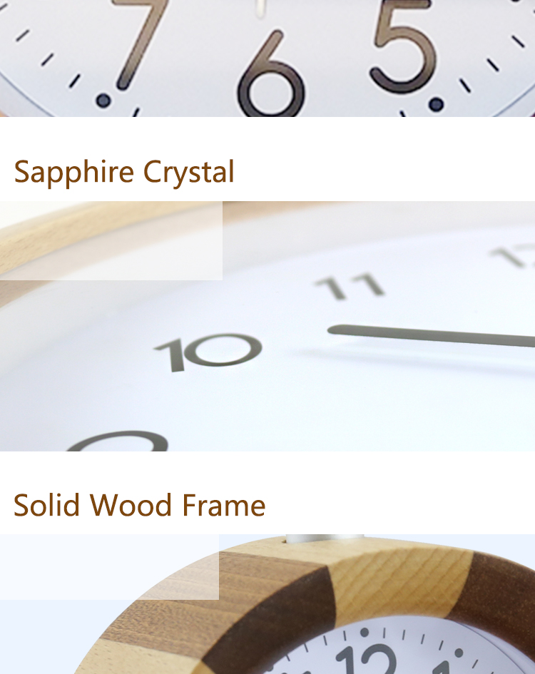 Round shape wooden silent quartz desk clock