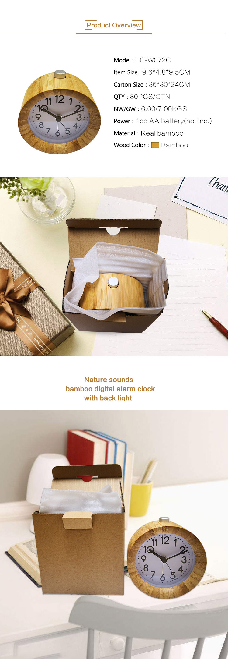 desktop quartz analog backlight alarm clock