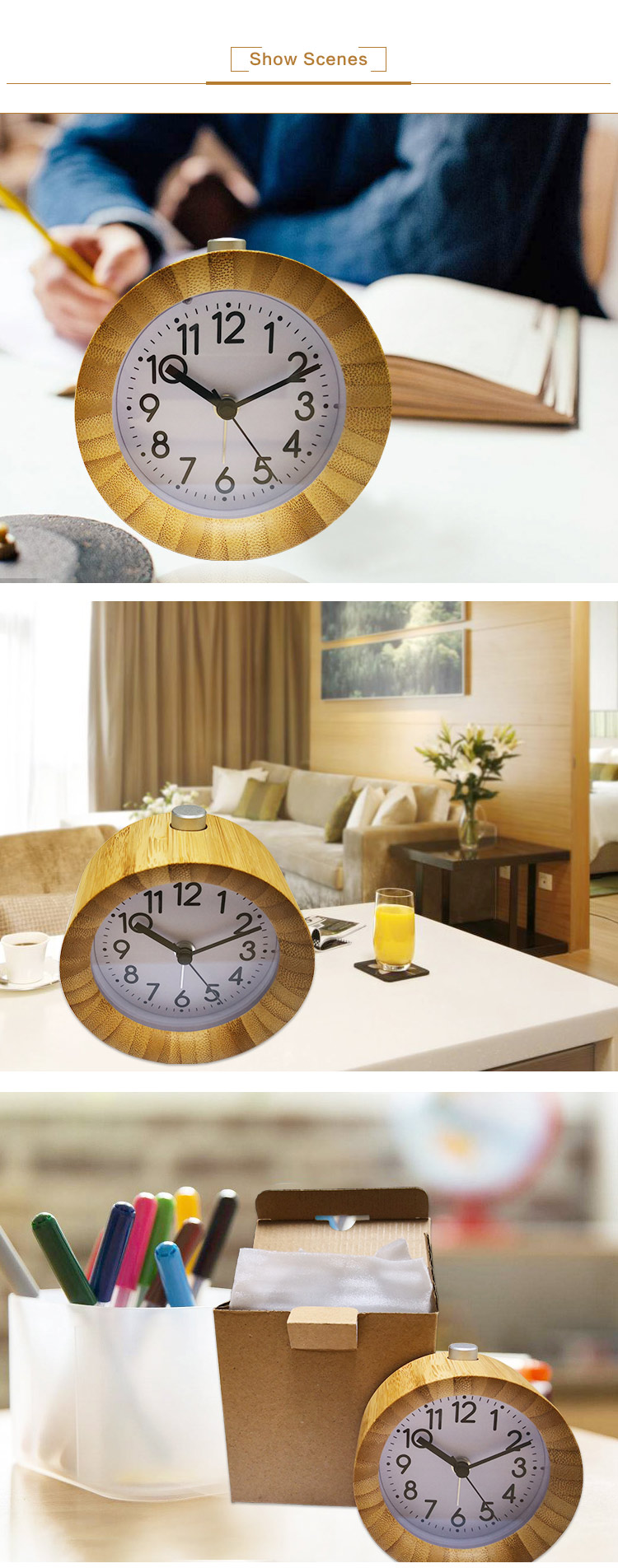 real bamboo non-ticking quartz clock