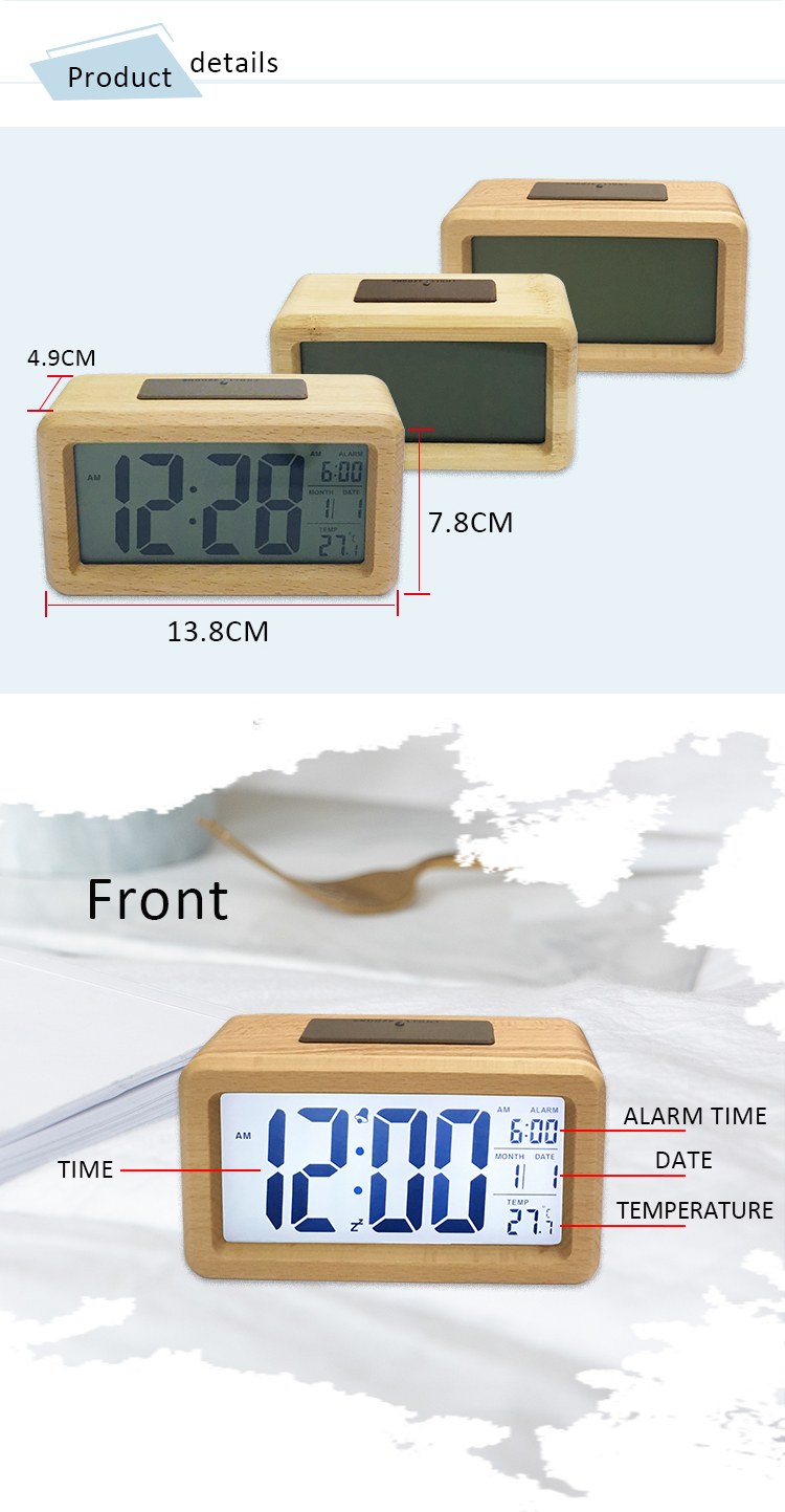 LCD travel clock with backlight