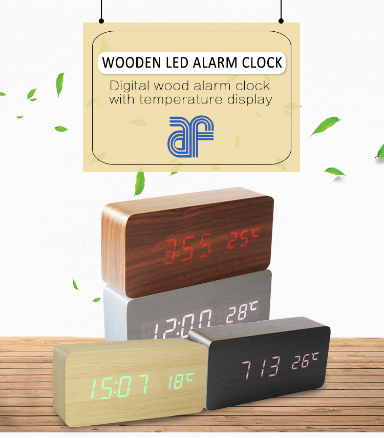 digital wood table clock with temperature