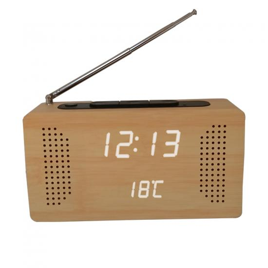 Portable FM radio with digital wooden LED clock