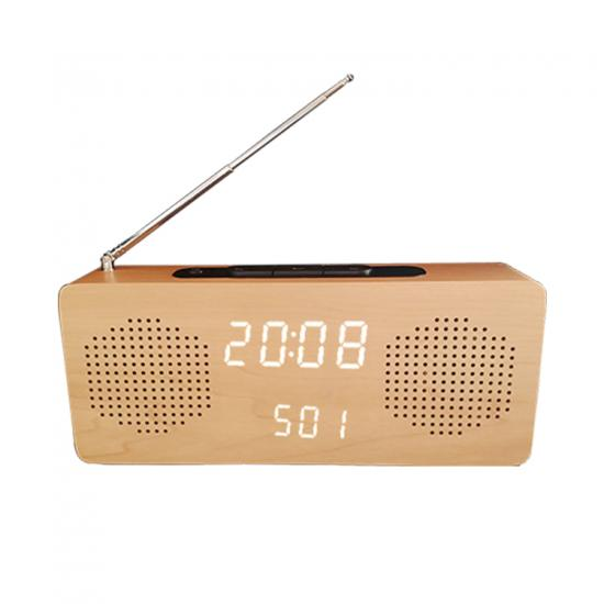 FM radio digital wooden LED table alarm clock temperature display