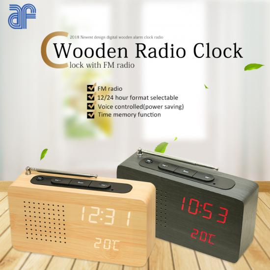 wooden table clock with portable FM radio temperature display