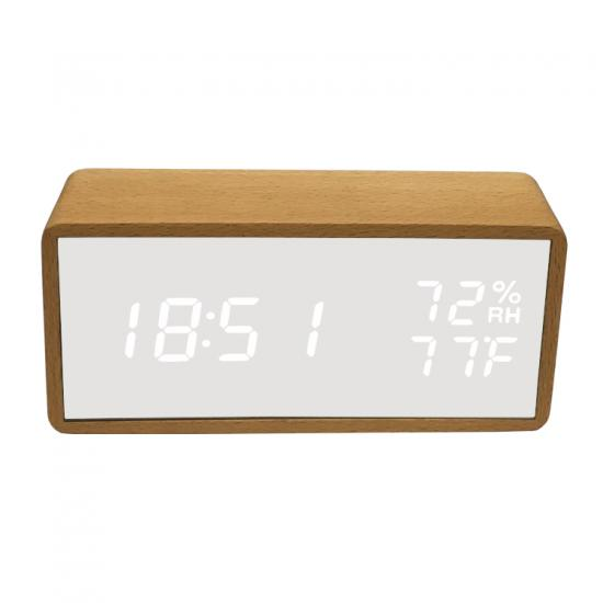 Acrylic humidity and temperature table alarm clock for baby house silent wood clock