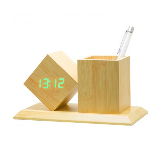 Voice Control Nightlight Wooden Pen Holder vase storage Clock