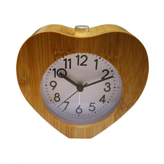wood frame silent quartz sweep movement desk clock
