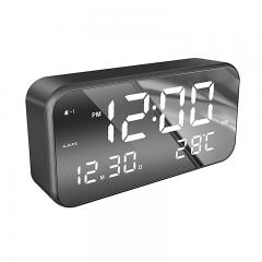 Large screen clear mirror effect desktop table alarm clock with music