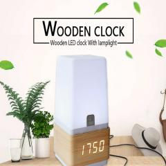 Digital touch sensative wooden alarm clock and soft light lamp