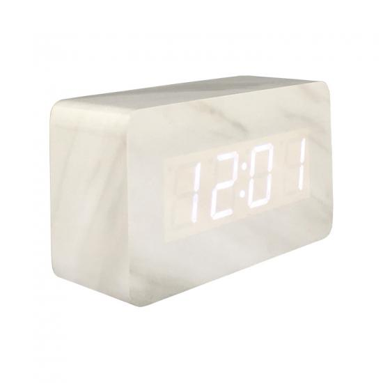LED digital wooden voice control table alarm clock