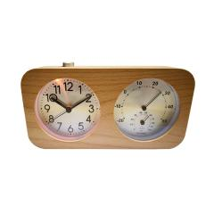 wooden silent quartz desk clock with backlight