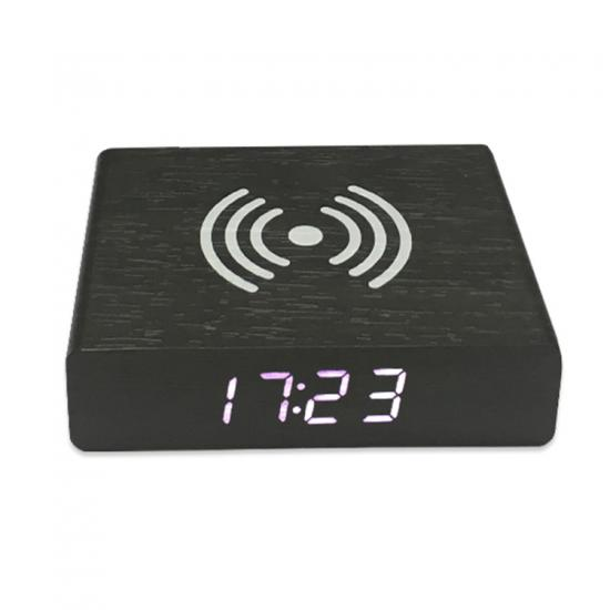Mini compact qi wireless charging digital wooden alarm clock