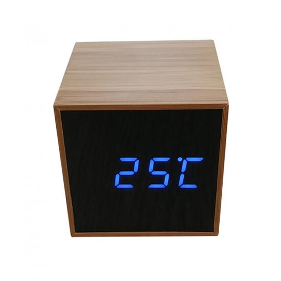 mini digital wooden mirror alarm clock luminous voice control table clock