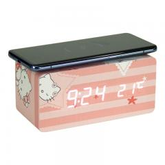 Cute hello kitty digital alarm clock and wireless charger
