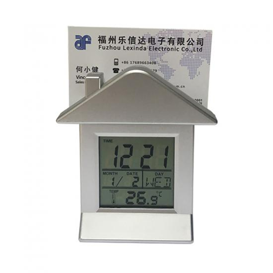 LCD desk clock with card holder