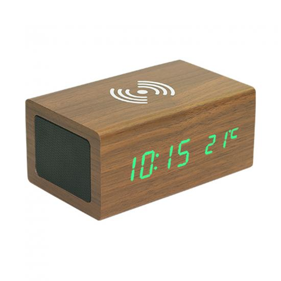 leather table alarm clock bluetooth speaker with wireless charger