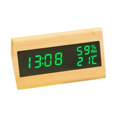 Triangle shape voice controlled wooden alarm clock