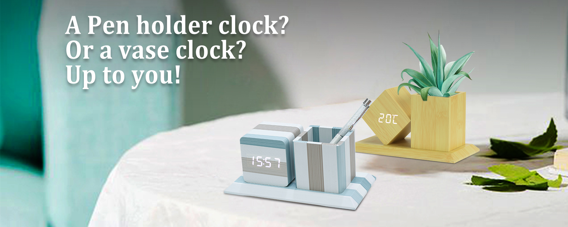 Pen holder clock or vase clock