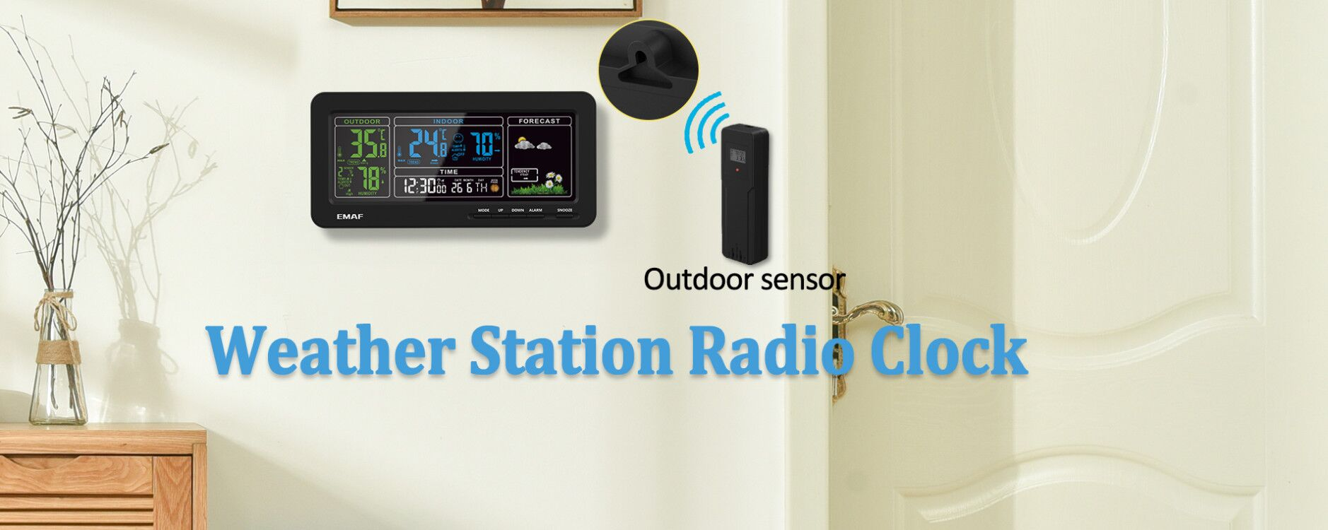 Weather station radio clock