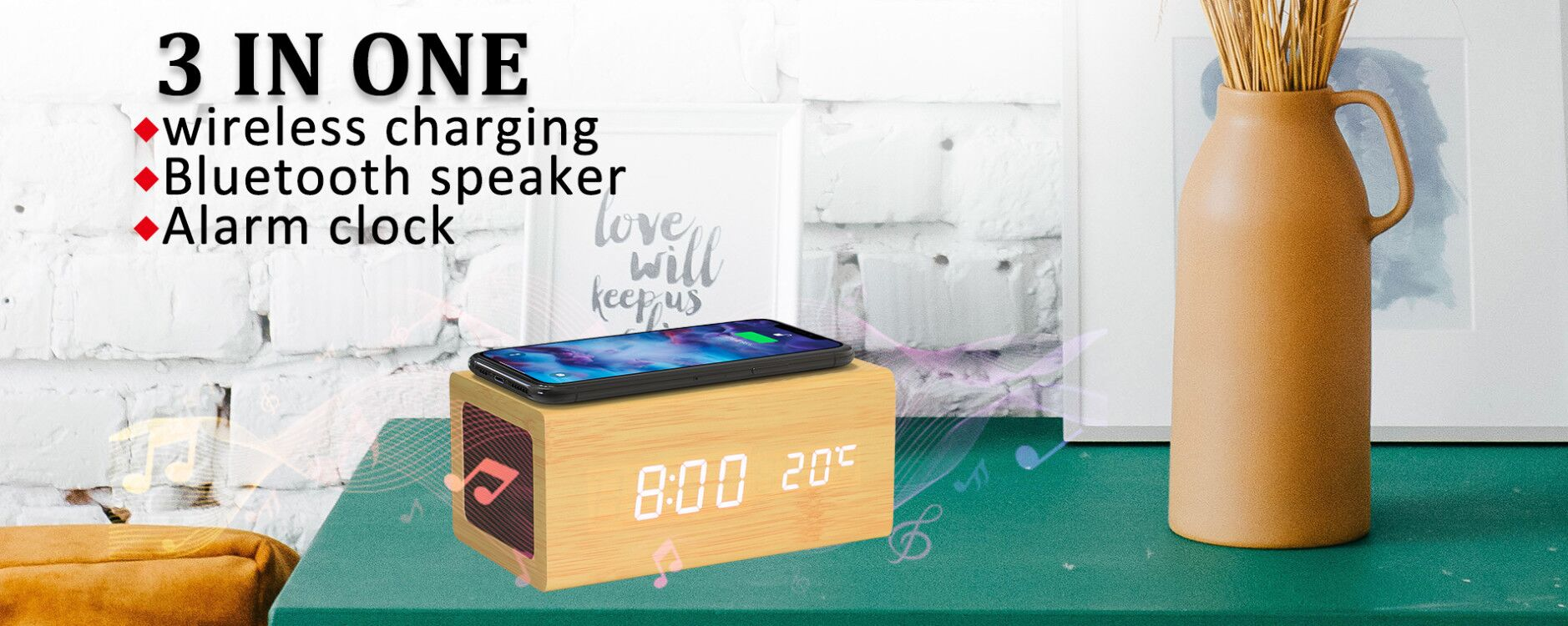 bluetooth speaker wireless charging alarm clock